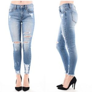 Denim - Light Wash Ripped Distressed Stretch Skinny Jeans